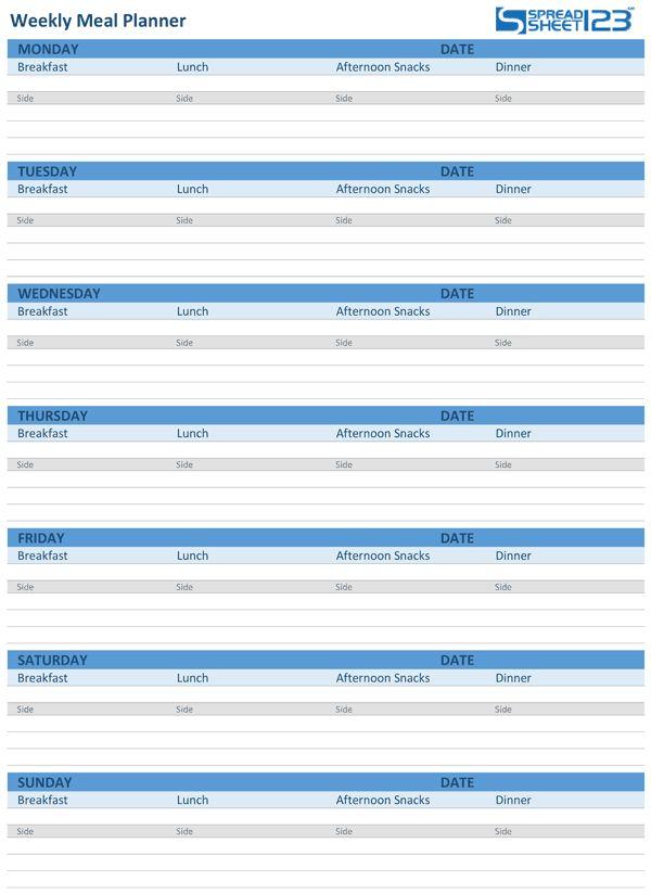 Printable Meal Planner and Weekly Menu Planner Templates