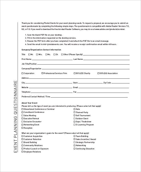 Sample Questionnaire - 47+ Examples in Word, PDF