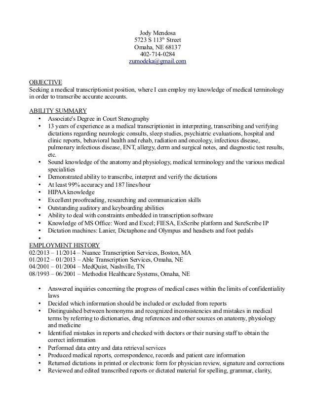resume format for medical transcriptionist transcriptionist