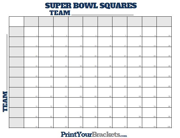 Bowl Squares Numbered 1 through 100