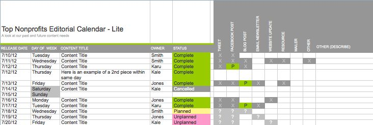 Free Editorial Calendar & Campaign Planning Documents - Top Nonprofits