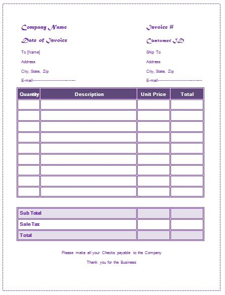 General Invoice Template For Microsoft® Word and Excel®