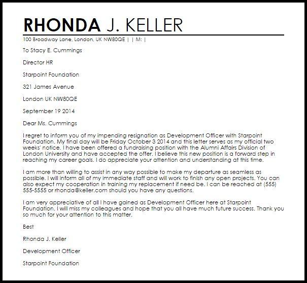 Resignation Letter : School Governor Resignation Letter Sample As ...