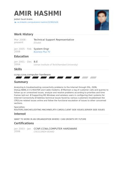 Technical Support Representative Resume samples - VisualCV resume ...