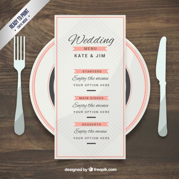 Wedding menu template in elegant style Vector | Free Download