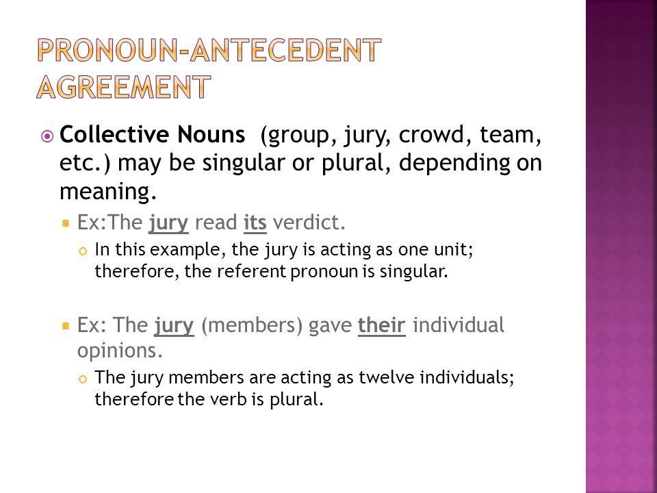 Agreement: subject-verb Pronoun-antecedent - ppt video online download