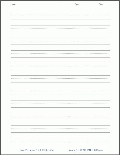 Blank Lined Paper   Handwriting Practice Worksheet | Student Handouts  Blank Writing Sheet