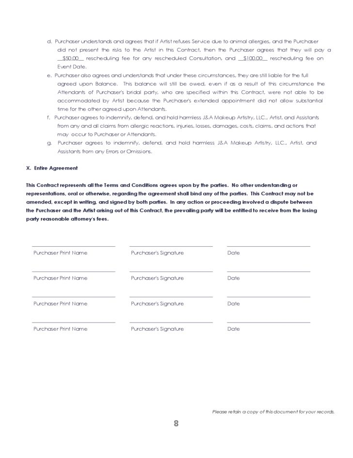 Free Printable Blank Contract Form Example for General Purpose ...