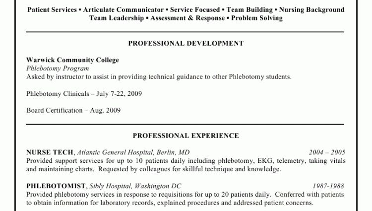 Free sample resume for phlebotomist