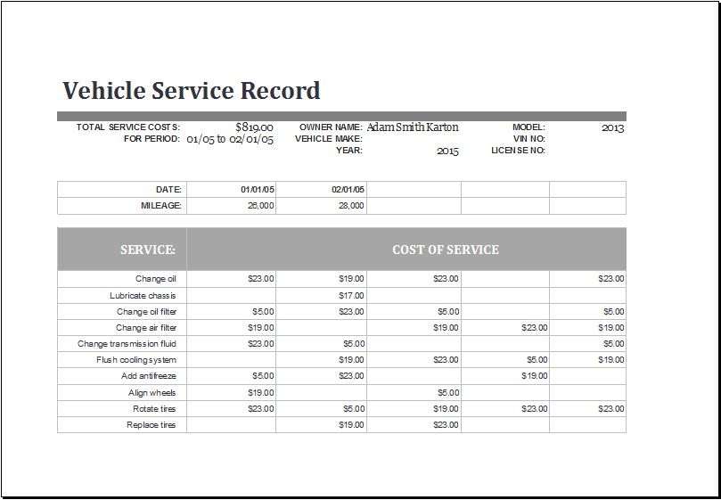 MS Excel Vehicle Service Record Log Template | Excel Templates