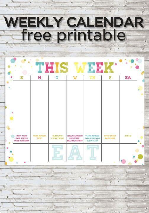 13 best Calendar images on Pinterest | Weekly calendar, Calendar ...