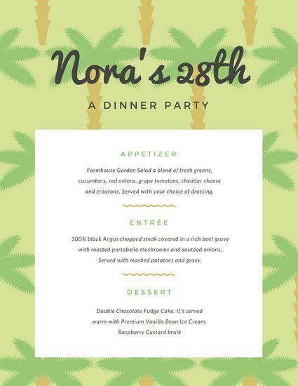 Green Palm Tree Pattern Dinner Party Menu - Templates by Canva