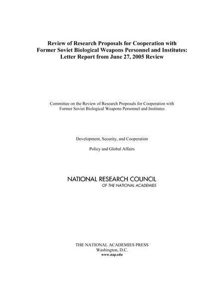 Review of Research Proposals for Cooperation with Former Soviet ...