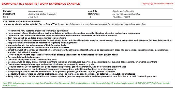 Bioinformatics Scientist Job Title Docs