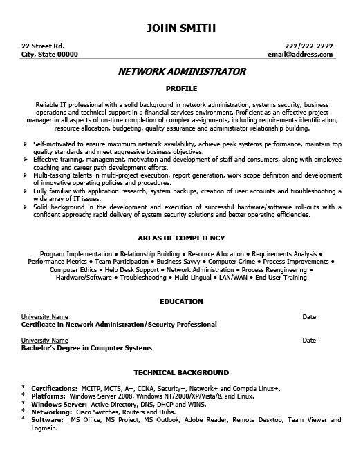 Free Download Network Administrator Resume Format Sample for Job ...