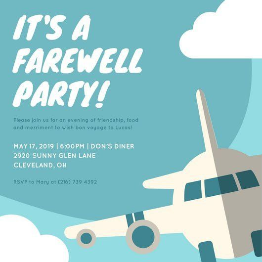 Blue Airplane Farewell Party Invitation - Templates by Canva