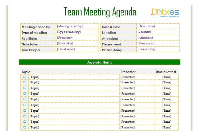 staff meeting agenda template word | Professional Templates