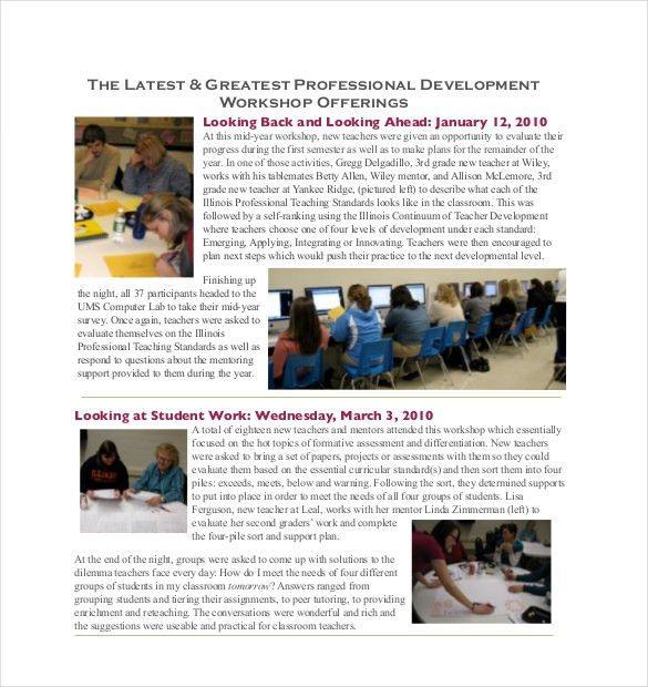 9+ Teacher Newsletter Templates – Free Sample, Example, Format ...