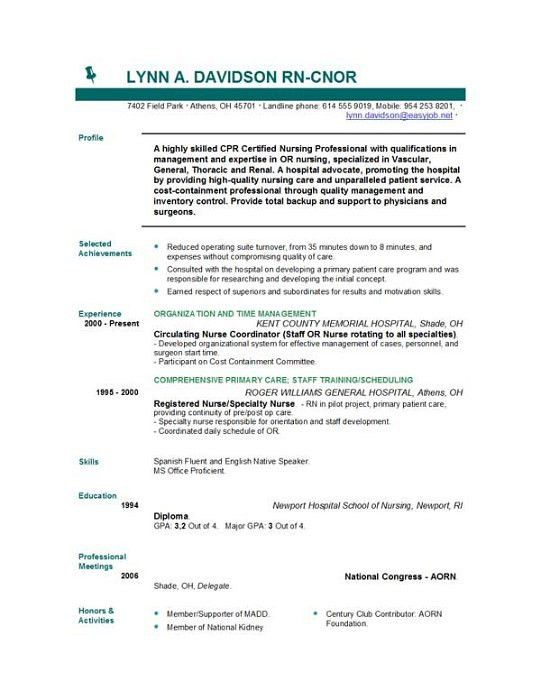 Cool Nursing Resume Template 71 In Good Resume Objectives With ...