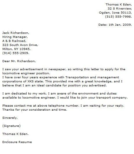 Engineer Cover Letter Examples - Cover Letter Now