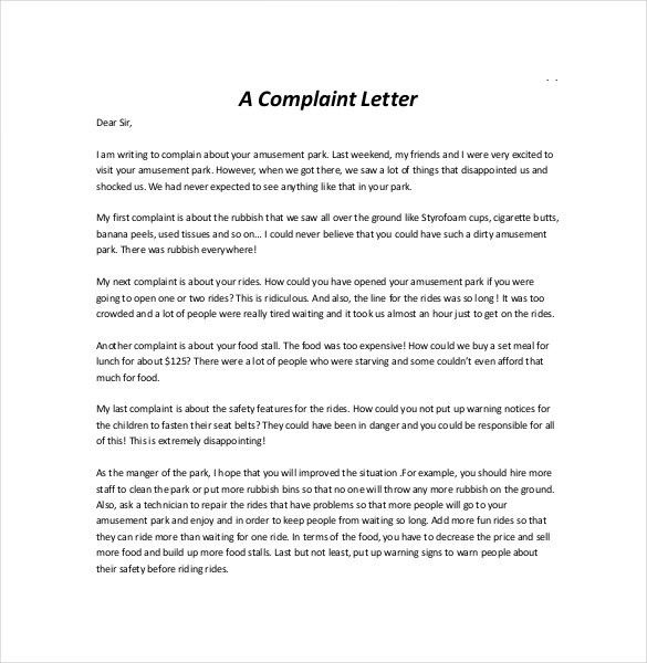letters of complaints samples - thebridgesummit.co