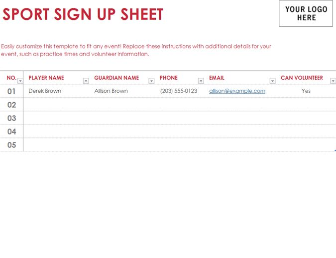 Sport sign-up sheet - Office Templates