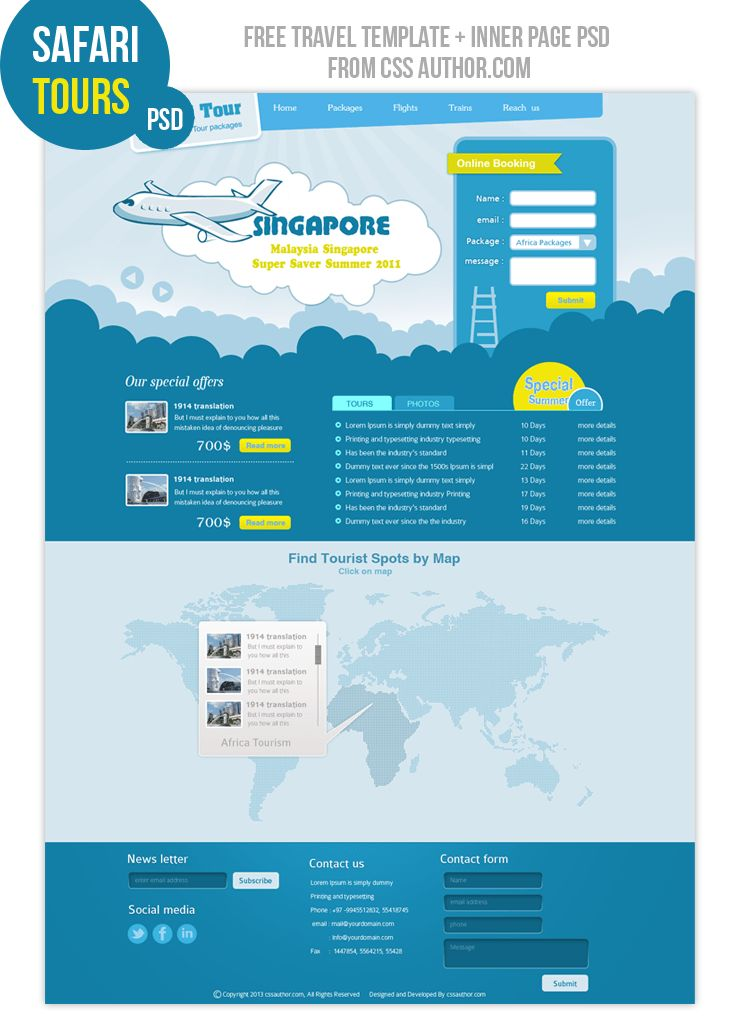Premium Travel Web design Template PSD for free | Free PSD ...