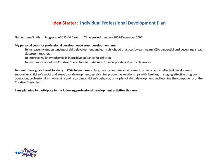 Personal Development Plan Template - How to Write Personal ...