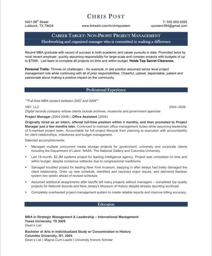 Fun It Project Manager Resume 7 Project CV Template Construction ...