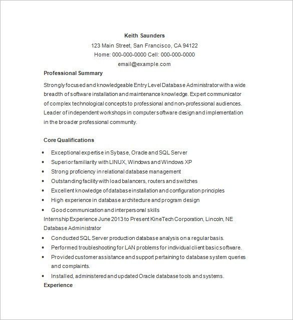 Database Engineer Sample Resume 12 Oracle Database DBA Resume ...