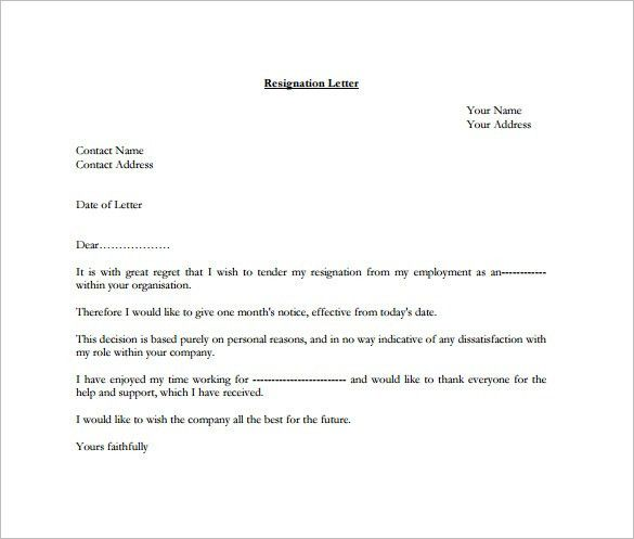 Formal Resignation Letter Template – 10+ Free Word, Excel, PDF ...