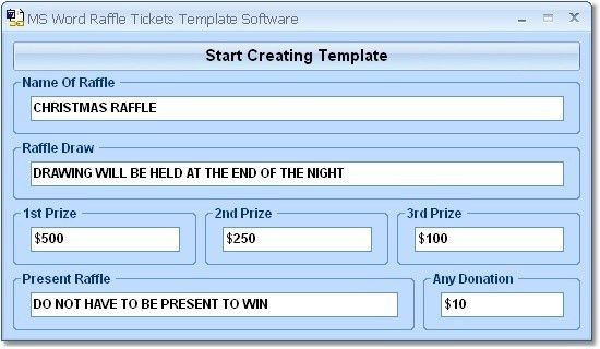 MS Word Raffle Tickets Template Software Shareware Version 7.0 by ...