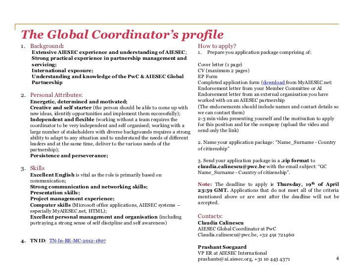 PwC & AIESEC Global Coordinator - Information package 12/13