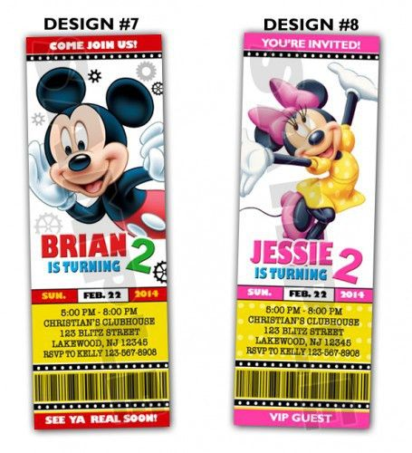 Mickey Mouse Clubhouse Ticket Birthday party invitations ...