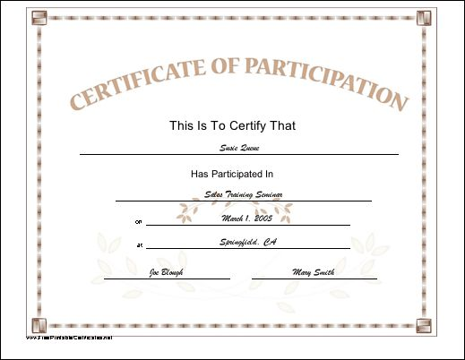 A certificate of participation in a simple pastel font with a few ...