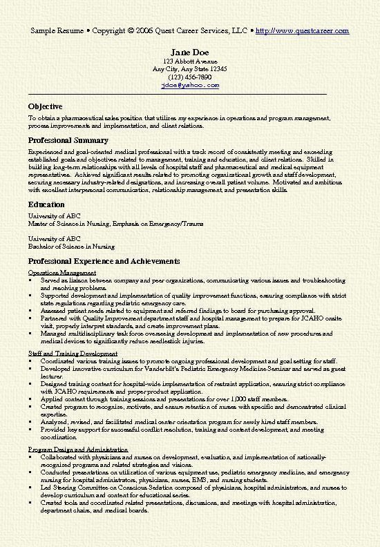 Pharmaceutical sales resume with no experience