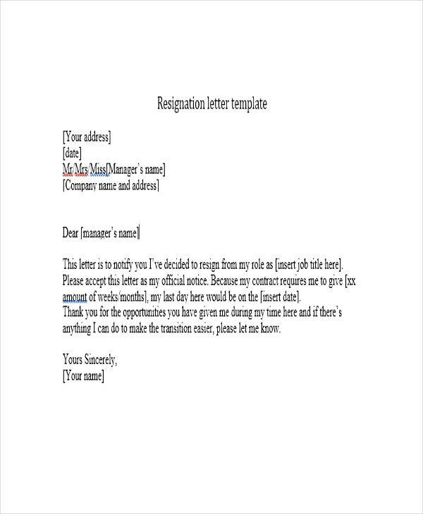 6+ Short Resignation Letter Templates - Free Word, PDF Format ...