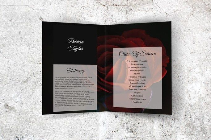 A Red Rose-Themed Memorial Card Template - Divine Love