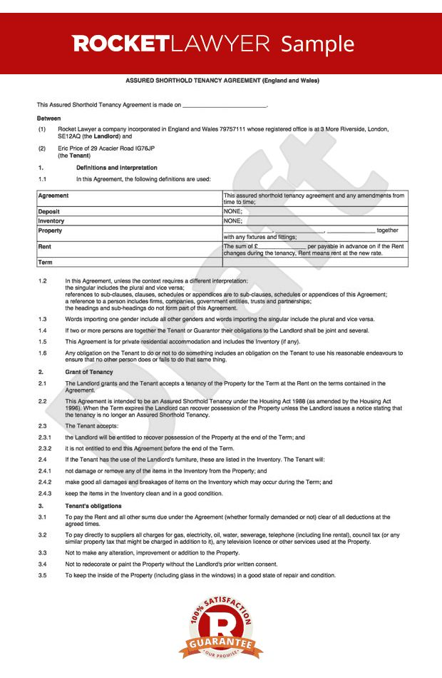 Agreement Template - Shorthold Tenancy Agreement UK