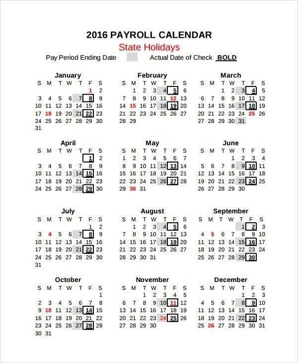 Payroll Calendar Template | Template Design