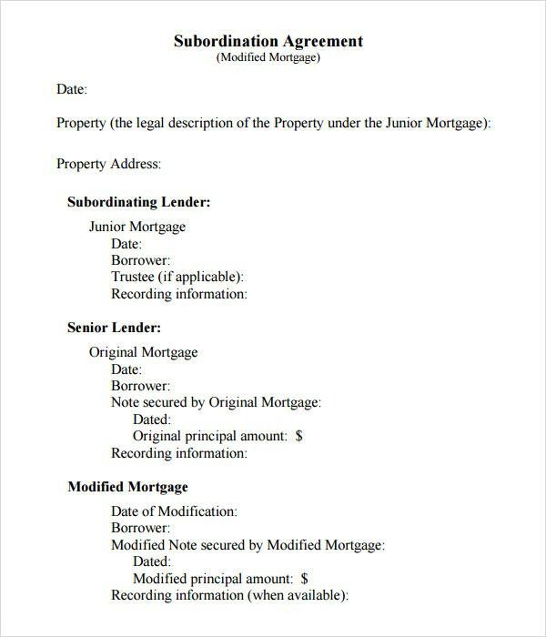 Exceptional Sample Subordination Agreement   7+ Free Documents Download In PDF