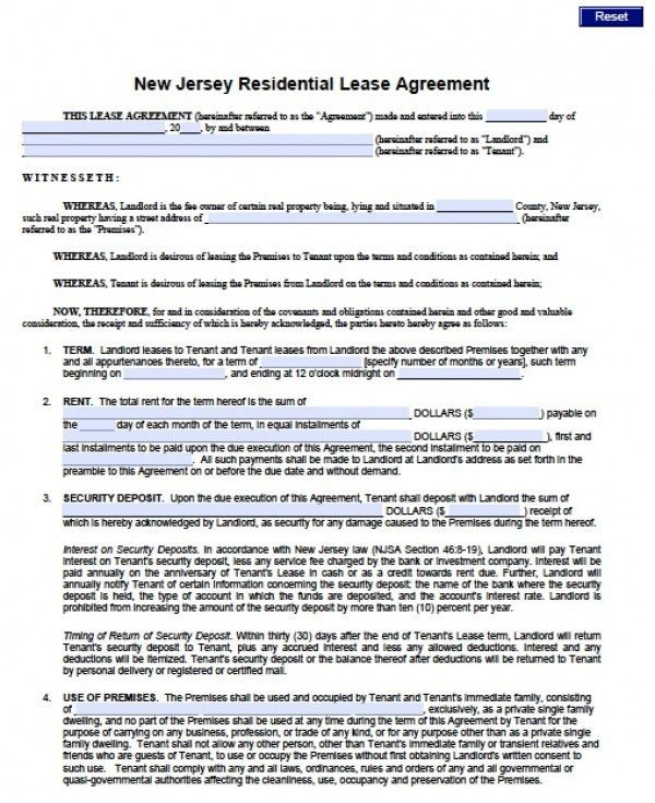Free New Jersey Standard Residential Lease Agreement (1 Year ...