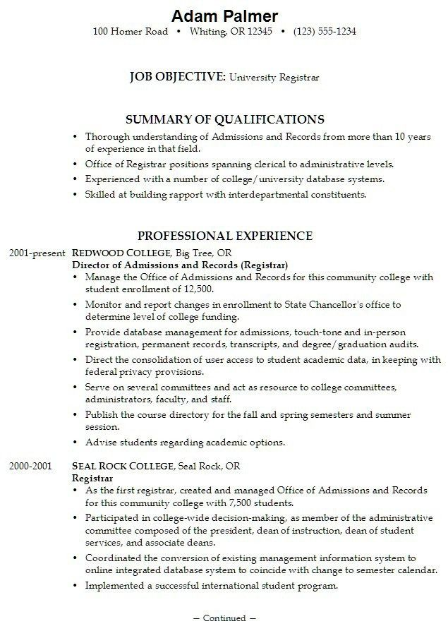 Example Resume College Admission Resume Template 10 The College ...
