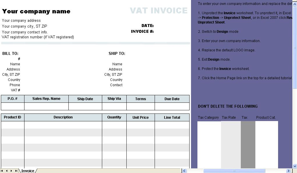 Invoice Template with Two VAT Tax Rates - Uniform Invoice Software