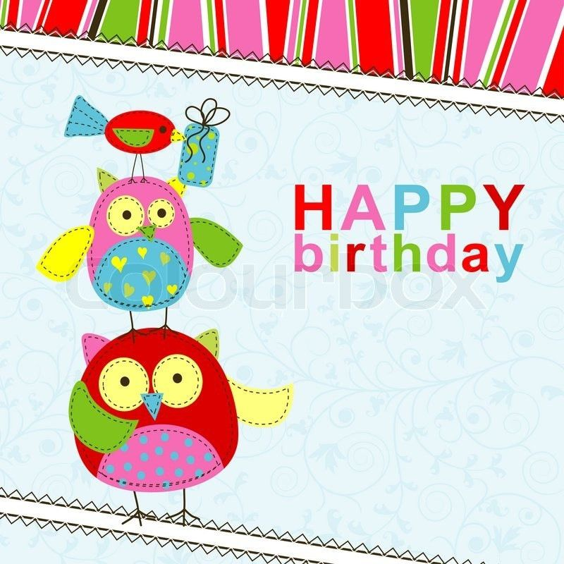 Template birthday greeting card, illustration | Stock Photo ...