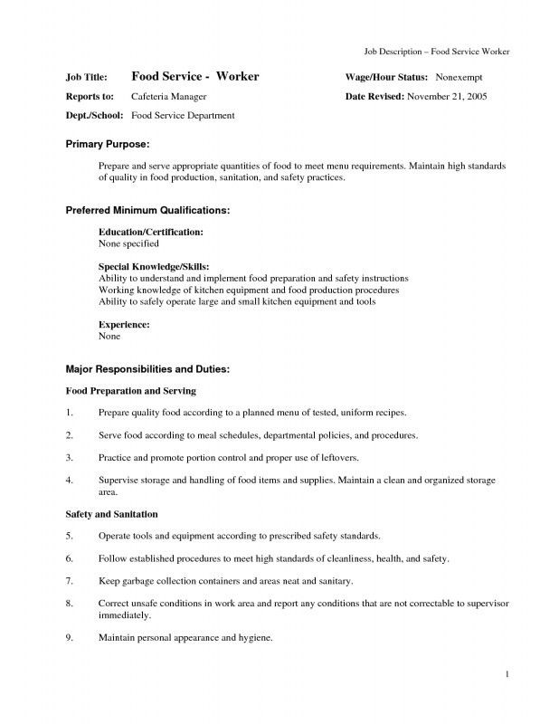 Objective For Food Service Resume   Samples Of Resumes