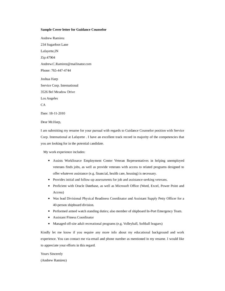 School Guidance Counselor Cover Letter