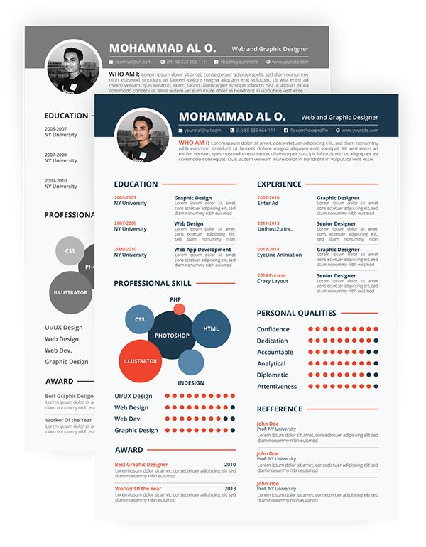 FREE Resume Template | Print ready & two color versions on Behance