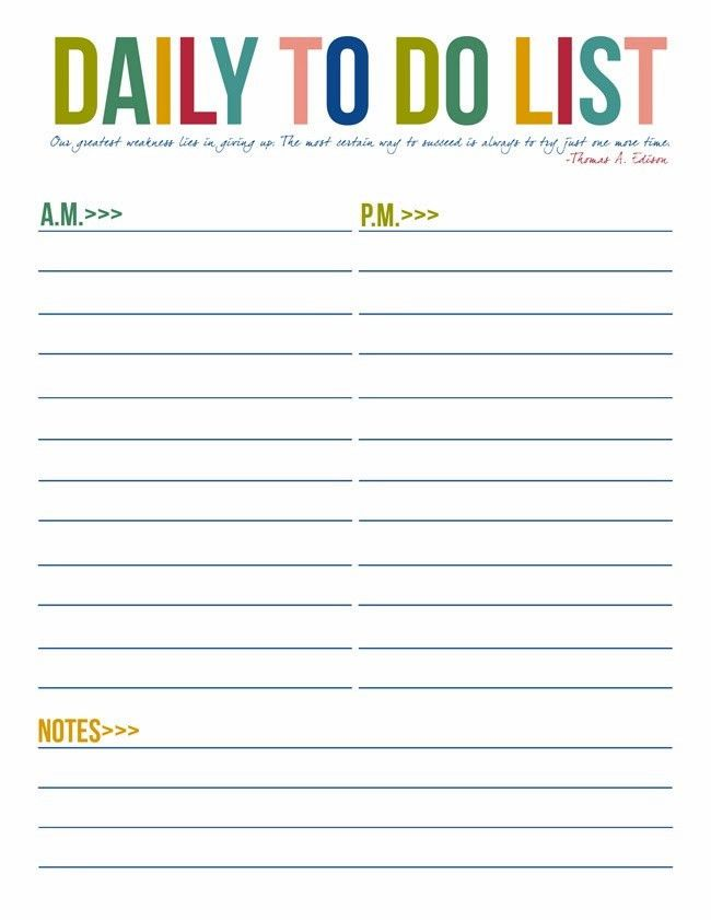 Daily To Do List Template | free to do list