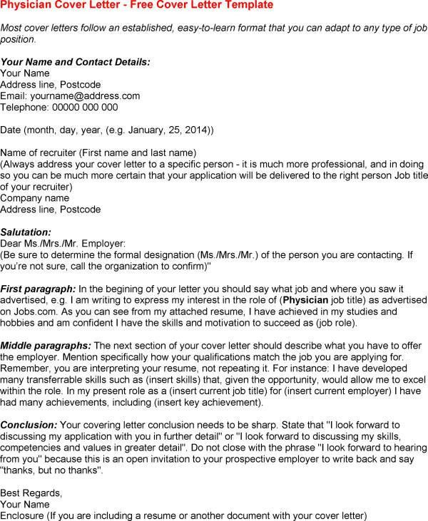 Physician Cover Letter Sample - My Document Blog